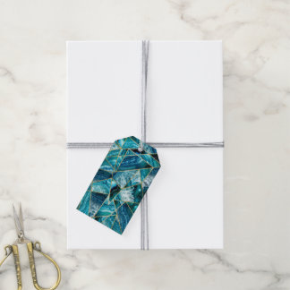 Turquoise Blue Agate Black Gold Geometric Triangle Gift Tags