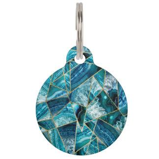Turquoise Blue Agate Black Gold Geometric Triangle Pet ID Tags