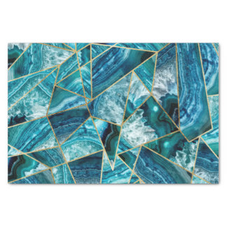Turquoise Blue Agate Black Gold Geometric Triangle Tissue Paper