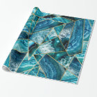 Turquoise Blue Agate Black Gold Geometric Triangle Wrapping Paper