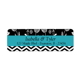 Turquoise Blue and Black Floral Return Address