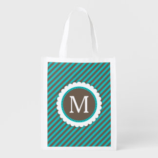 Turquoise Blue and Brown Stripes Pattern Monogram Reusable Grocery Bag