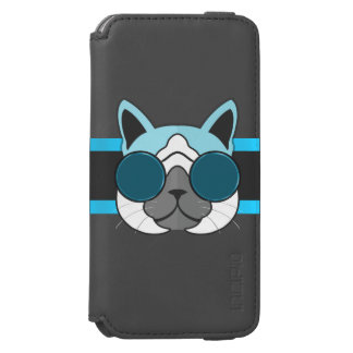 Turquoise Blue and Charcoal Cool Cat Hipster Theme Incipio Watson™ iPhone 6 Wallet Case