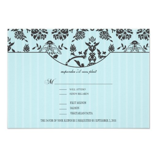Turquoise Blue and Damask RSVP w/ meal choices Custom Announcement