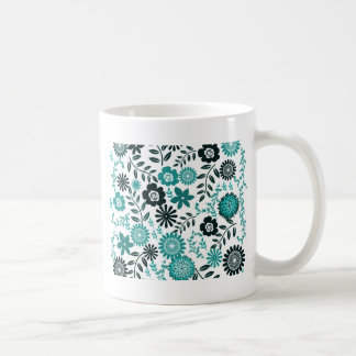 Turquoise blue and dark olive green pattern floral coffee mug