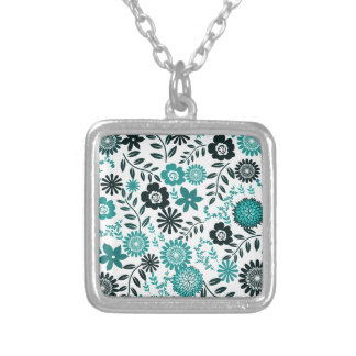 Turquoise blue and dark olive green pattern floral silver plated necklace