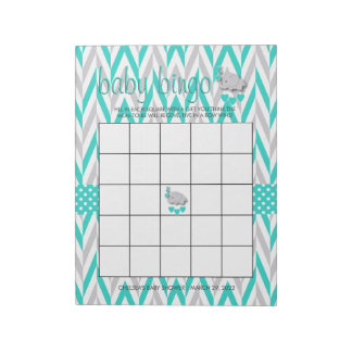 Turquoise Blue and Gray Elephant Baby Shower Game Notepad