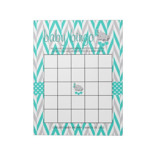 Turquoise Blue and Grey Elephant Baby Shower Game Notepad
