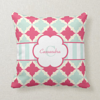 Turquoise Blue and Rose red tile pattern monogram Throw Pillow