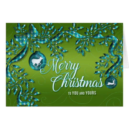 Turquoise Blue and Sage Green Ribbon Christmas Card