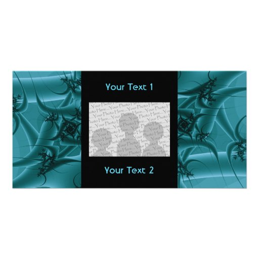 Turquoise Blue and Teal Fractal Art Design. Photo Card
