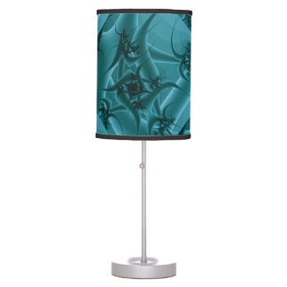 Turquoise Blue and Teal Fractal Art Design. Table Lamp