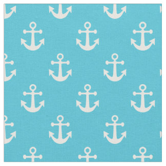Turquoise Blue and White Nautical Anchors Pattern Fabric