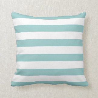 Turquoise Blue and White Stripe Pattern Throw Pillow