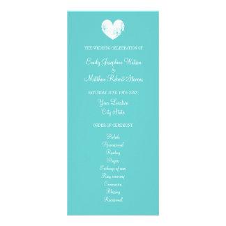 Turquoise blue and white wedding ceremony program personalized rack card