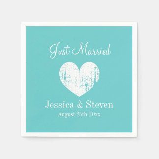 Turquoise blue and white wedding party napkins