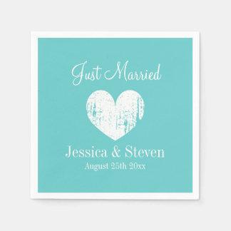 Turquoise blue and white wedding party napkins disposable napkins