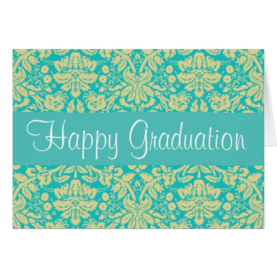 Turquoise Blue and Yellow Damask Graduation Card