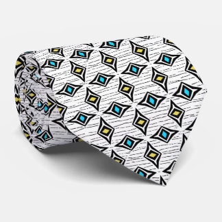 Turquoise blue and yellow diamond gems tie