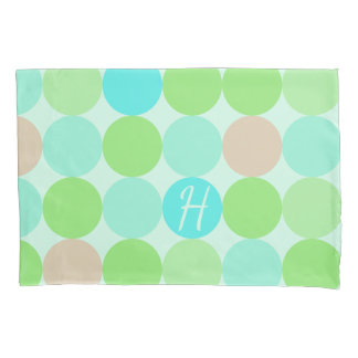 Turquoise Blue, Apple Green & Light Coral Circles Pillowcase