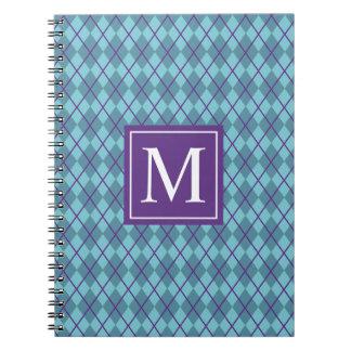 Turquoise Blue Argyle Monogram   Notebook