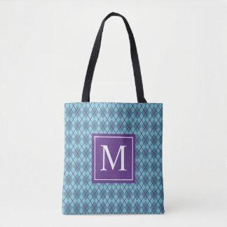 Turquoise Blue Argyle Monogram | Tote Bag