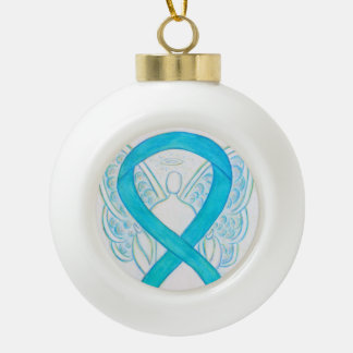 Turquoise Blue Awareness Ribbon Angel Ornaments
