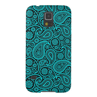 Turquoise-Blue & Black Retro Paisley Ham Pattern Galaxy S5 Cover