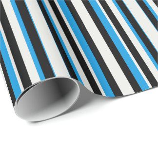 Turquoise Blue Black Silver Stripes Wrapping Paper