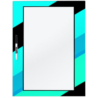Turquoise Blue Black Stripes Dry Erase Board
