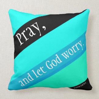 Turquoise Blue Black Stripes Pray Throw Pillow