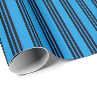 Turquoise Blue Black Stripes Wrapping Paper