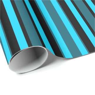 Turquoise Blue Black Teal Stripes Wrapping Paper