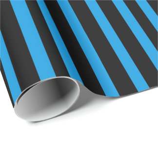 Turquoise Blue BlackStripes Wrapping Paper