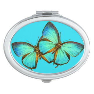 Turquoise Blue Butterflies Wildlife Compact Mirror