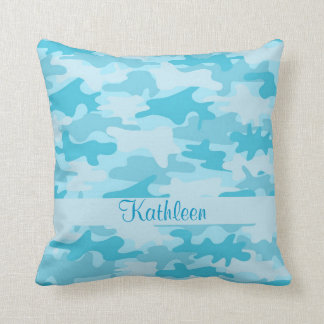 Turquoise Blue Camo Camouflage Name Personalized Throw Pillow