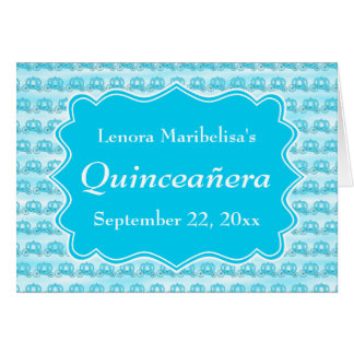 Turquoise Blue Carriages Quinceanera Greeting Card