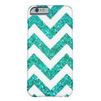 Turquoise Blue Chevron Glitter Pattern Barely There iPhone 6 Case