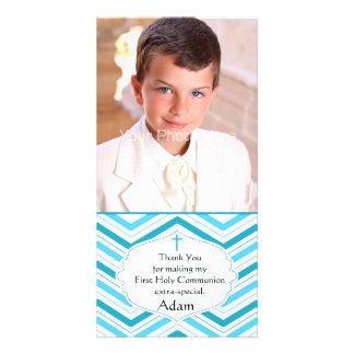 Turquoise Blue Chevron, Religious Photo Card