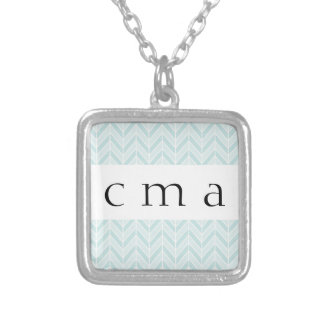 turquoise blue chevron silver plated necklace