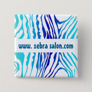 Turquoise Blue Classy Zebra Pattern Professional 2 Inch Square Button