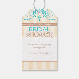 Turquoise Blue Cream Brown Bridal Shower Tags