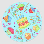 Turquoise Blue Cupcakes and Cake Happy Birthday Round Stickers