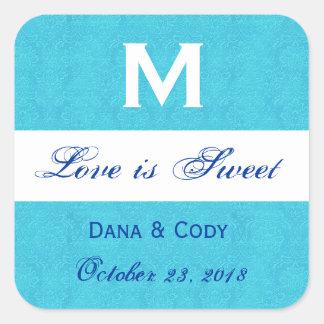 Turquoise Blue Damask Wedding Monogram Square Sticker