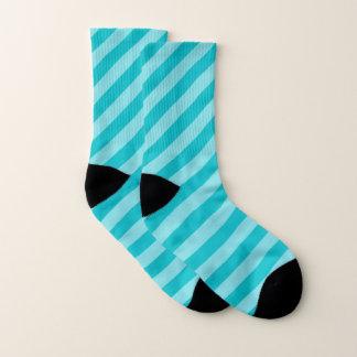 Turquoise Blue Diagonal Stripe Pattern Socks