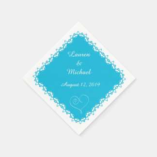 Turquoise Blue Doily Heart Personalized Paper Napkin