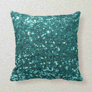 Turquoise Blue Faux Glitter Print Aqua Teal Throw Pillow