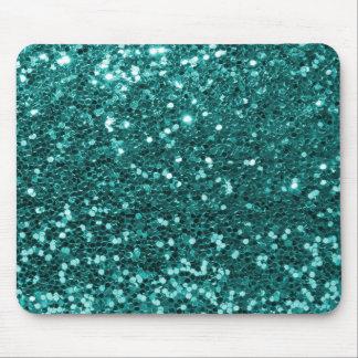 Turquoise Blue Faux Glitter Teal Aqua Mouse Pad