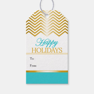 Turquoise Blue Faux Gold Chevron Christmas Tags