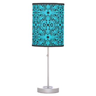 turquoise blue floral pattern table lamp